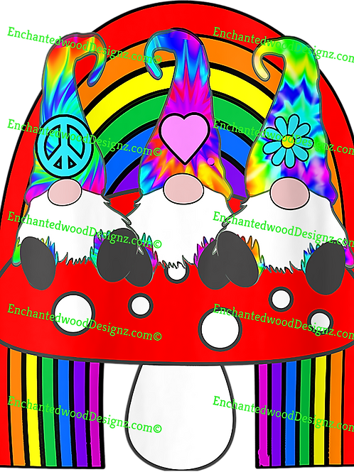 3 Hippie Gnomes- Mushroom & Rainbow
