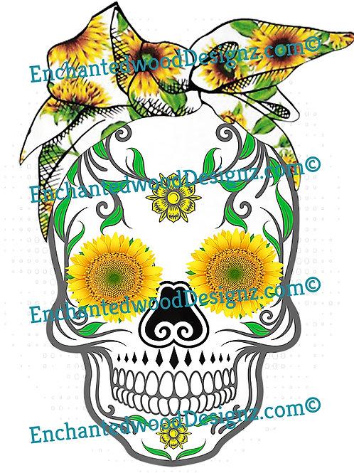 Cute Sunflower Skull