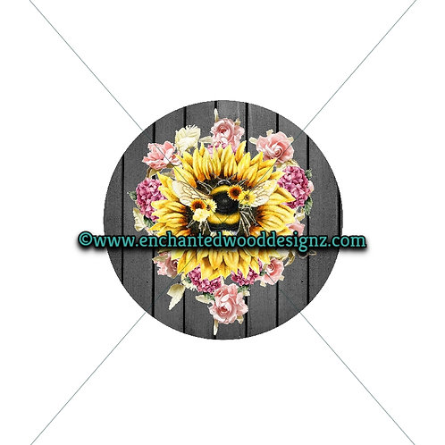 Bee Sunflower Floral - Wreath board, Phone Grips, Mixed Media Round