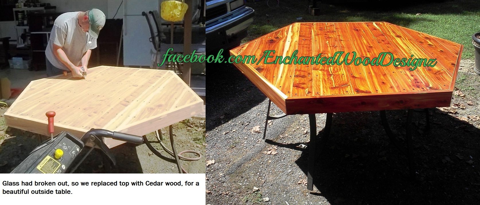 Before & After cedar table
