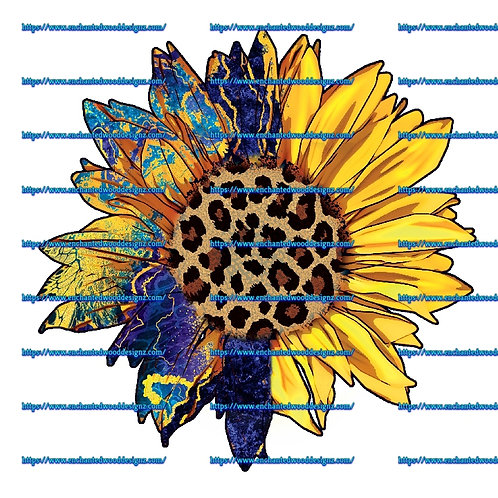 Cheetah half Blues/Yellows Sunflower