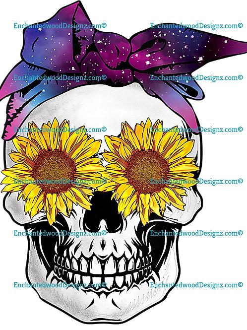 Sunflower Skull Galaxy Bandana