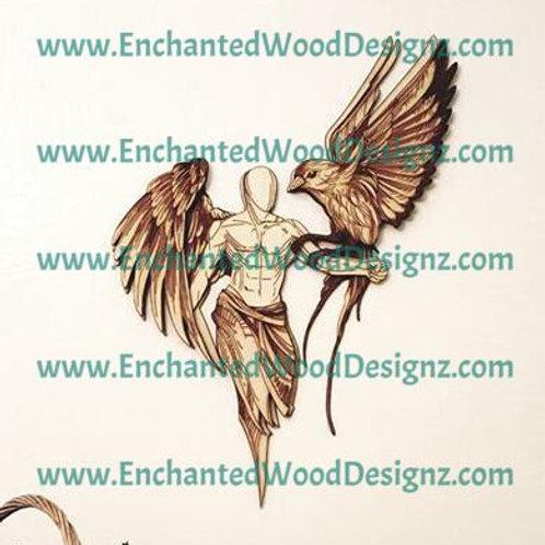 Angel Man with Bird