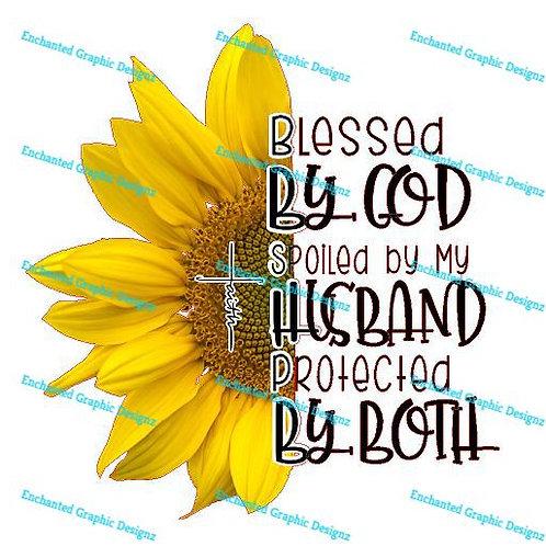 Sunflower -Blessed/Protected -God & Husband - Light center on flower