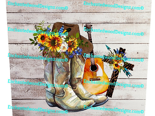 Country Print boots, Hat, Guitar, Cross 20 oz Skinny Wrap