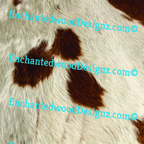 Tan dark & White  Cowhide 3