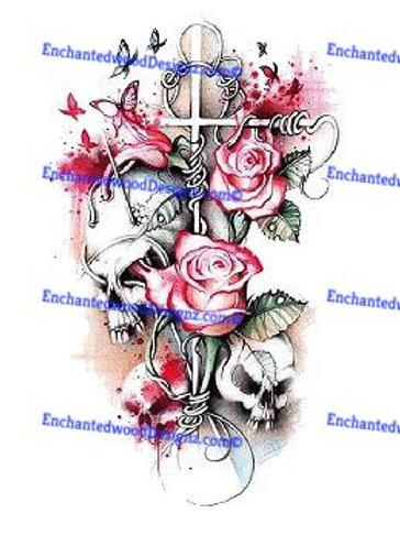 Skull Flower Cross