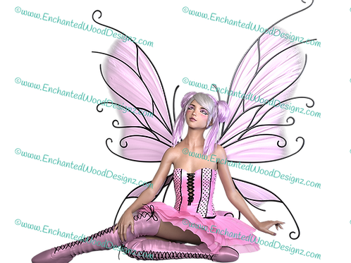 Baby Pink Fairy-Printed on Clear