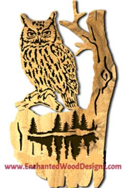 Owl on Branch-Forest Scene