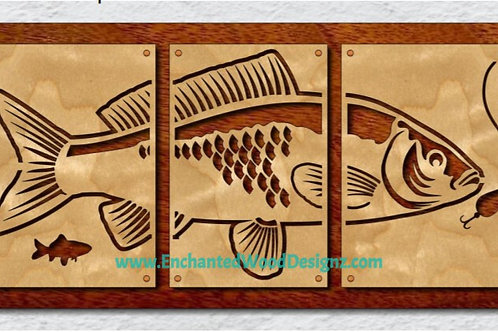 Bass Fish 3 piece wall art/mixed media kit