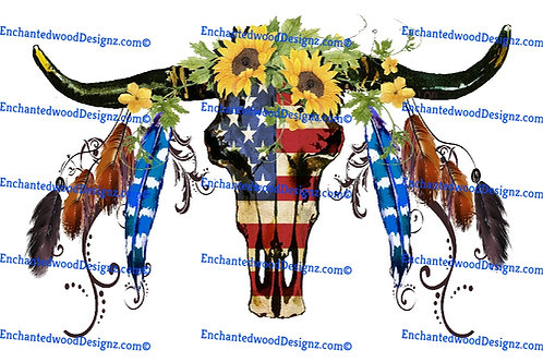 American Flag Southwest Skull feathers and flowers