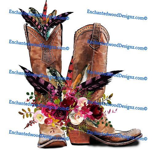 Boho Boots, Feathers & Flowers