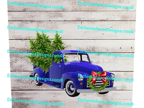 Blue Old Truck Christmas 12x12 wrap
