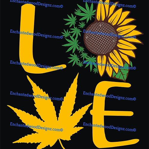 Love pot leaf sunflower design