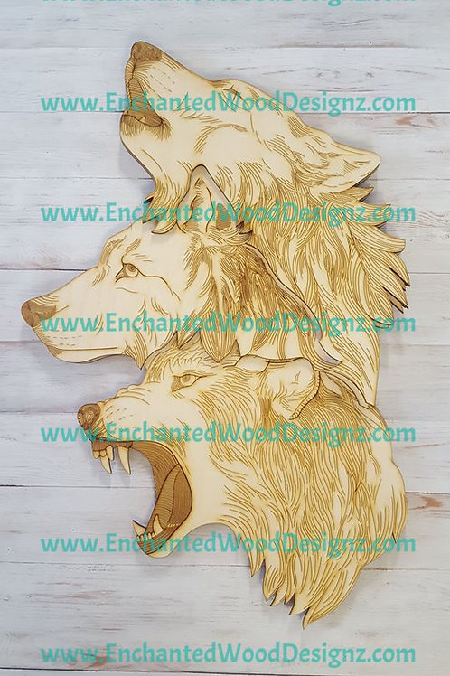 3 Wolves Layered