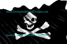 Pirate flag with Crossbones waving