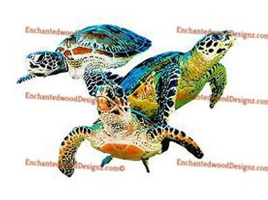 3 vibrant Ocean Turtles