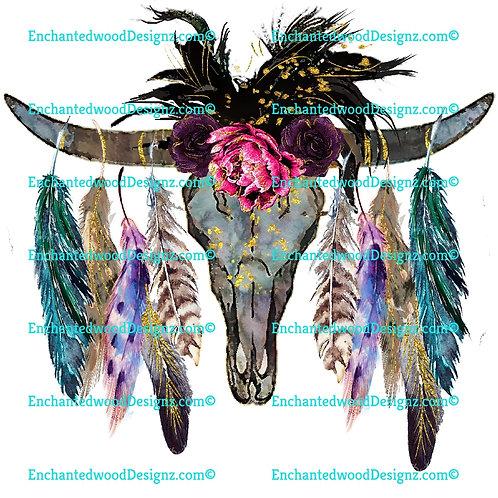 Bull Skull Feather n Flowers SW