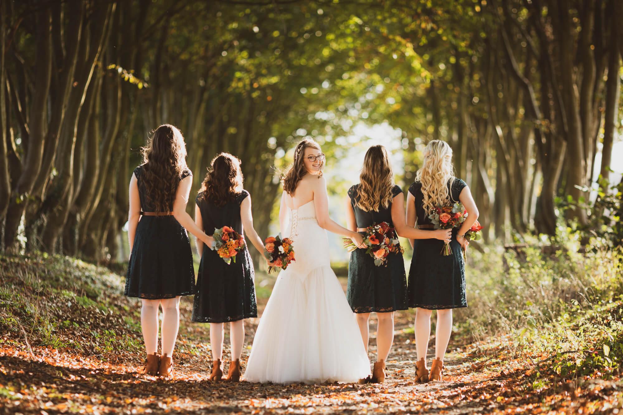 Bride and Bridesmaids at Salisbury wedding, wiltshire