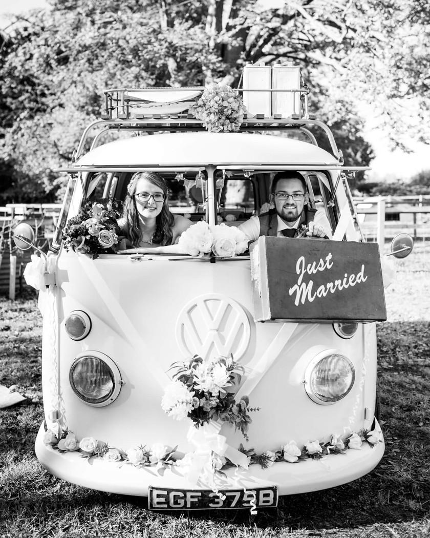 Doris days out, bride and groom in VW van, Salisbury wedding photographer