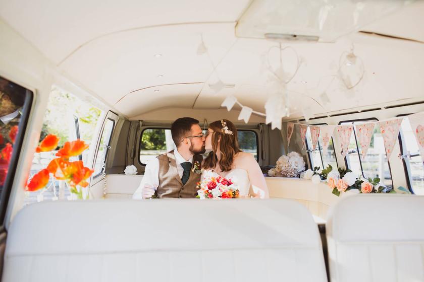Doris days out, bride and groom with VW van, Salisbury wedding photographer