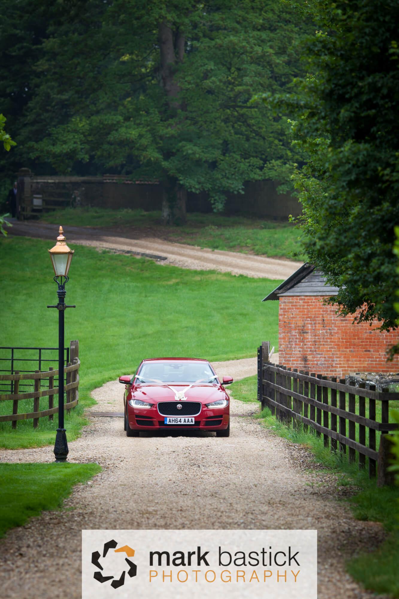 Manor Barn, Wiltshire, wedding car