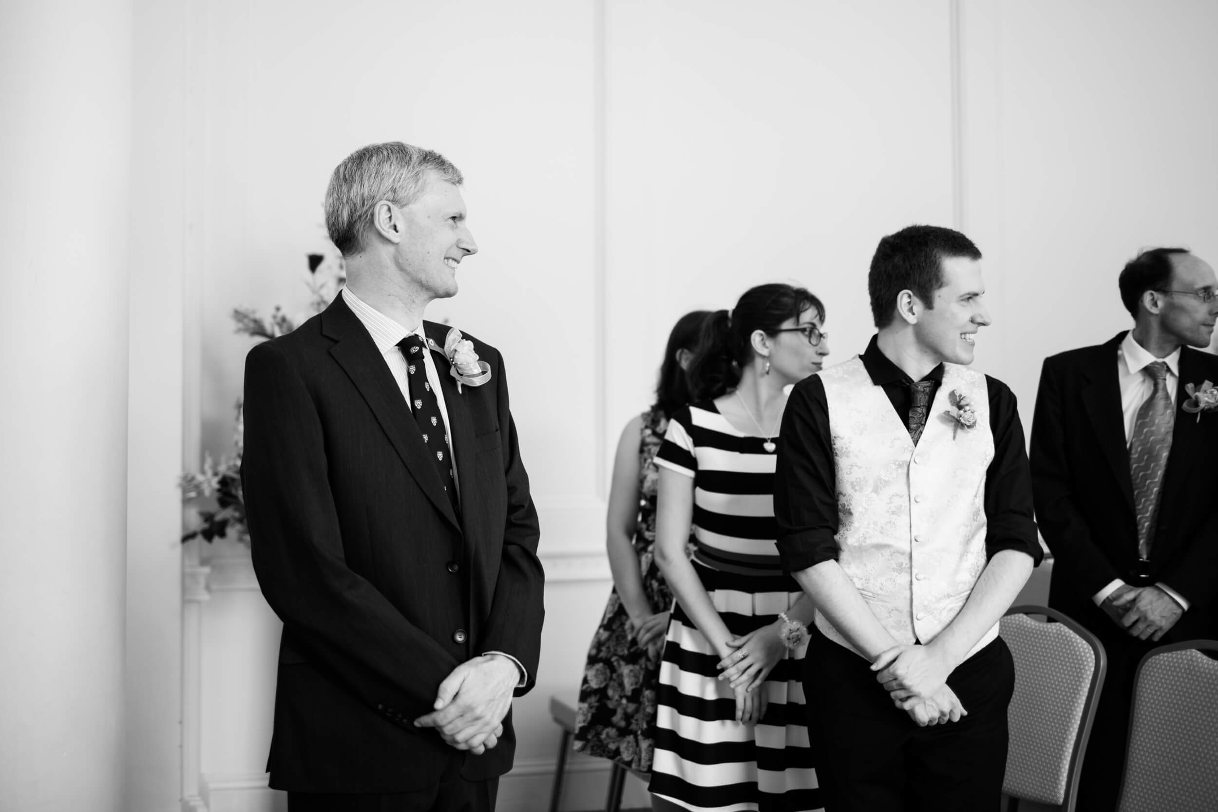 Wedding photography at Salisbury Registry office, waiting for the bride