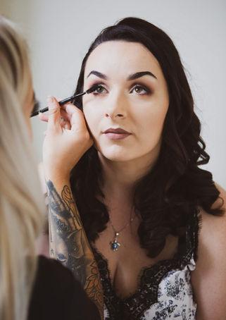 Bride, makeup, getting ready, salisbury wedding photographer