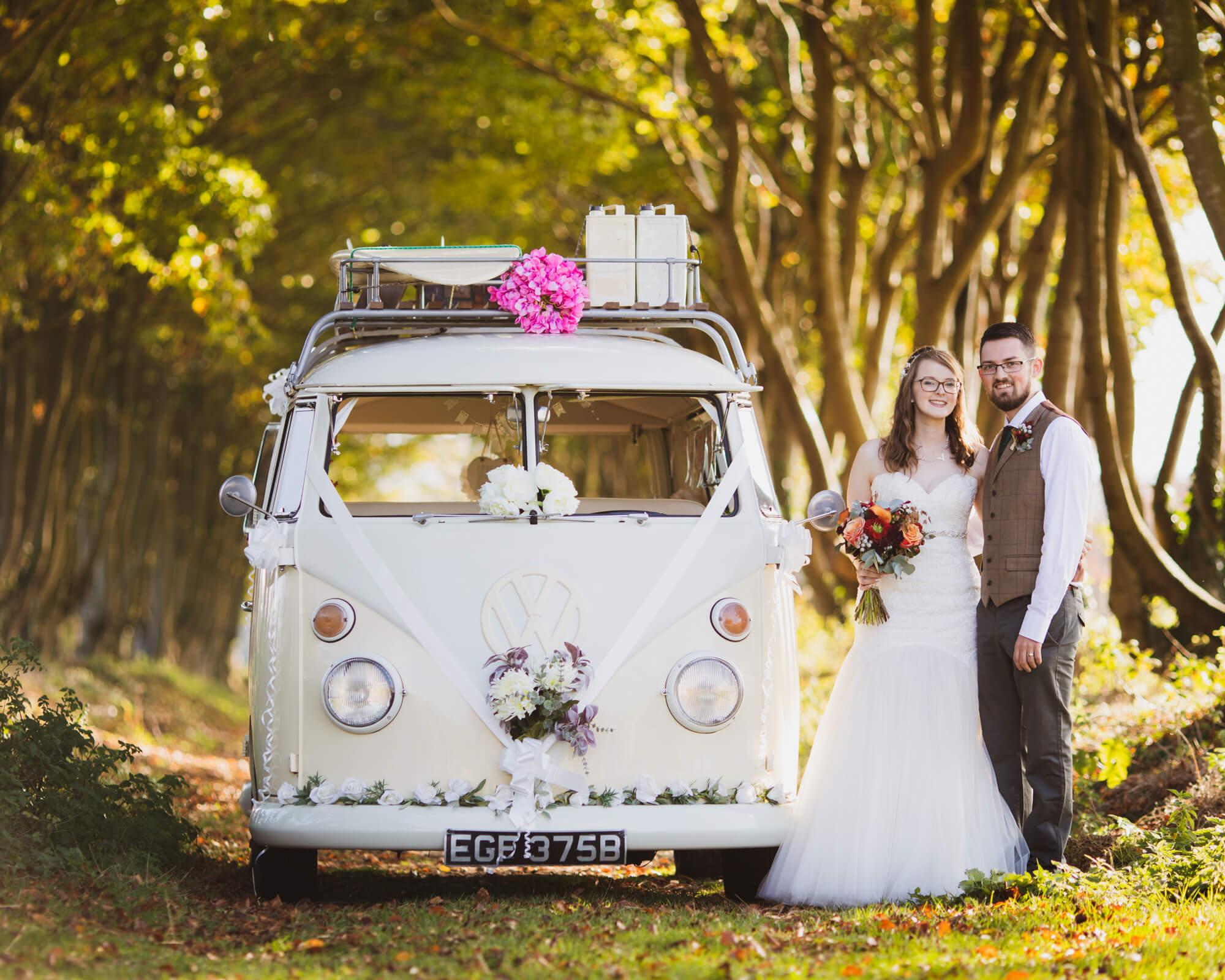 bride and groom, with wedding VW, Wiltshire wedding photographer