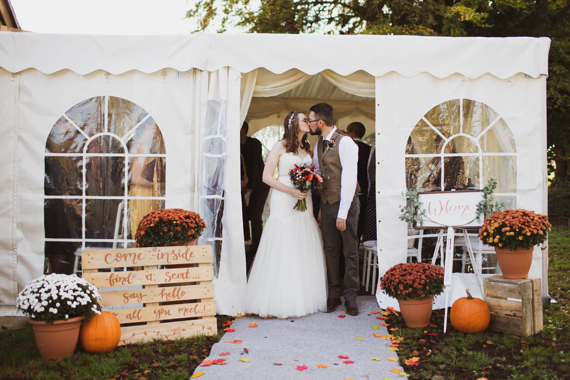 Bride and Groom outside venue, Wiltshire wedding photography