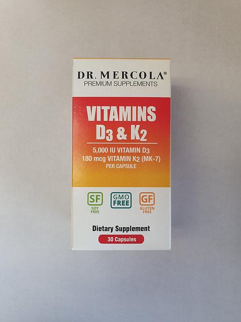 Dr. Mercola Vitamins D3 & K2 180 mcg 30 capsules