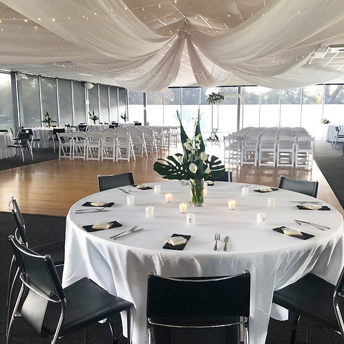 300cm Round White Table Cloth