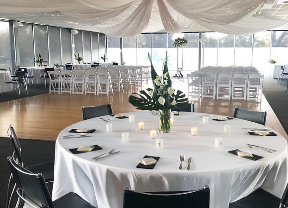 300cm Round White Table Cloth