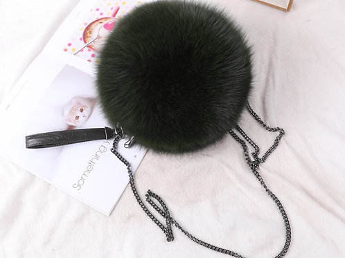 Real Fur and Leather 2-way Purse