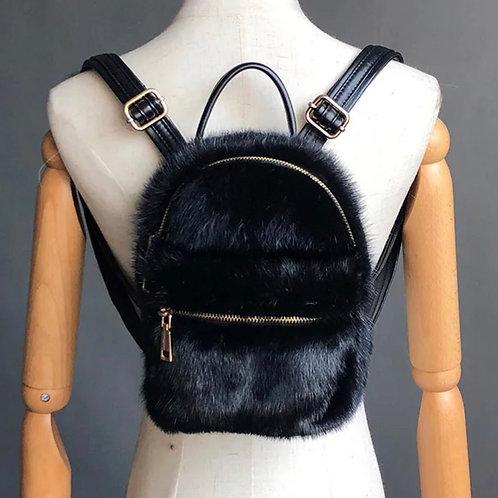 Black Fur Backpack