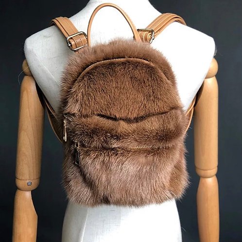 Brown Fur Backpack