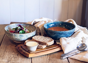 Comforting Bowl of soup with bread