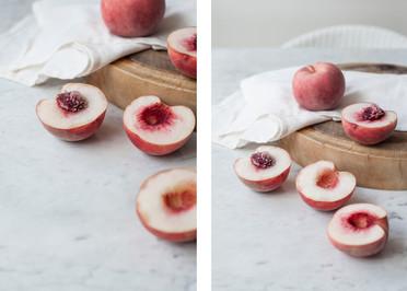 Peaches on Wood Board