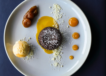 Chocolate and Marmalade Melting middle chocolate dessert captured by food photographer harriet bailey photography