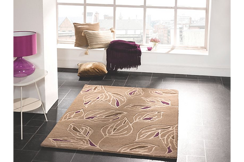 Taupe/Purple Branches Rug