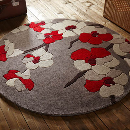 Blossom Round Rug Red