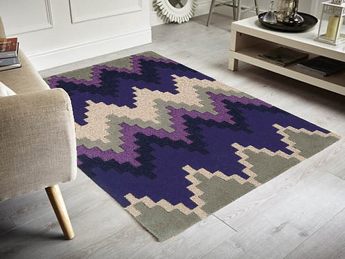 Matrix Block Modern Rug Purple