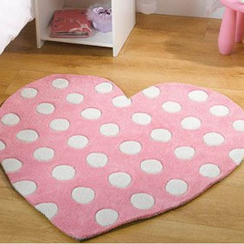Polka Dot Heart Rug Pink