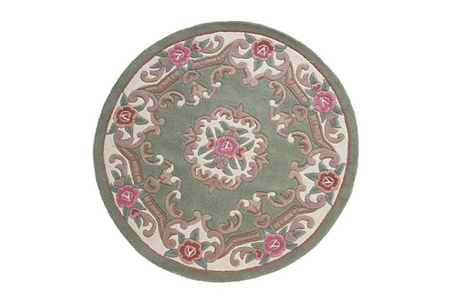 Green Aubusson Round Rug