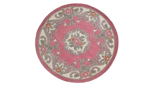 Pink Aubusson Round Rug