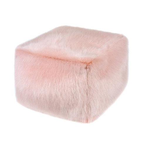 Dusky Pink Faux Fur Cube