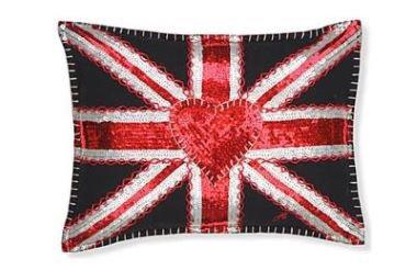 Sequined Union Jack Rectangle Cushion