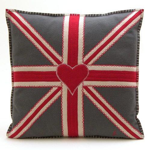 Grey Union Jack Square Cushion