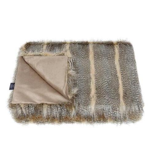 Siberian Wolf Faux Fur Throw