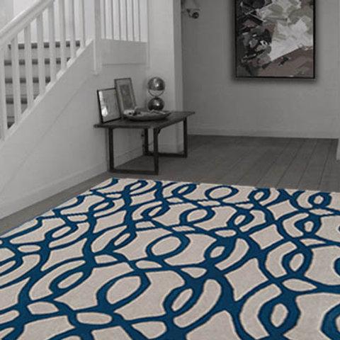 Matrix Wire Modern Rug Blue